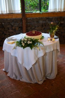 Torta nuziale minimal chic, ad un piano, ricoperta di fragoline