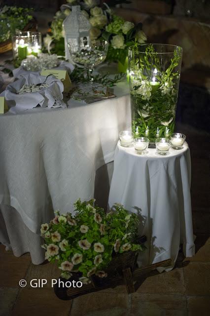 Dettaglio confettata romantica in verde